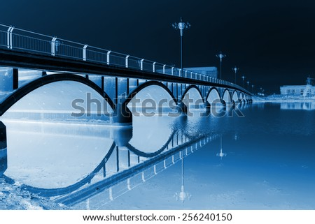 bridge building landscape under the blue sky, north china - stock photo