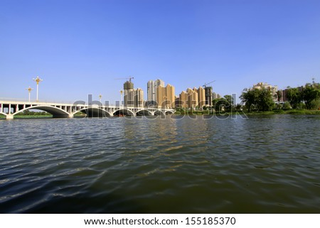 Bridge building scenery in north china, closeup of photo - stock photo