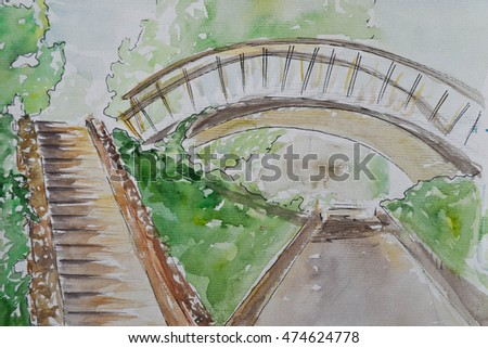 bridge buildings art watercolor