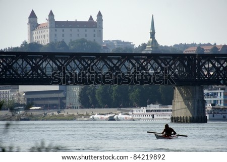 Bridge, castle and cathedral in Bratislava, Slovakia. - stock photo