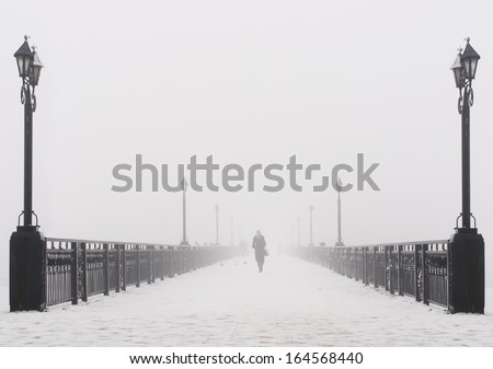 Bridge city landscape in foggy snowy winter day - alone woman, lanterns and doves flock - Ukraine, Donetsk - stock photo