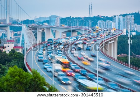 bridge closeup on rush hour, traffic concept - stock photo