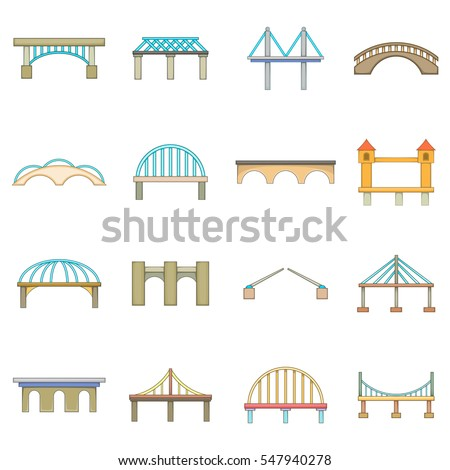 Bridge construction icons set. Cartoon illustration of 16 bridge construction  icons for web