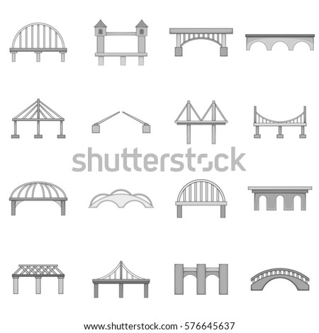 Bridge construction icons set in monochrome style isolated on white background