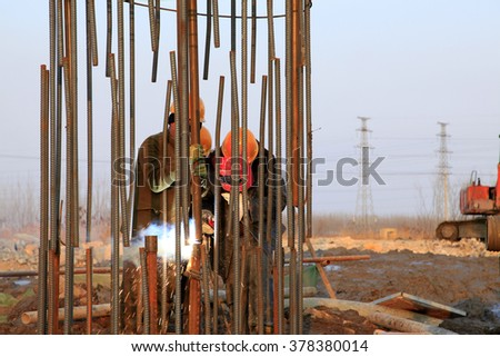 Bridge construction under performing the steel reinforcement of piling work - stock photo