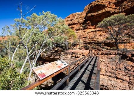 Bridge crossing at Kings Canyon in Northern Territory, Australia - stock photo