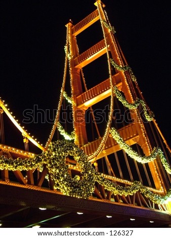 Bridge decorated for Christmas - stock photo