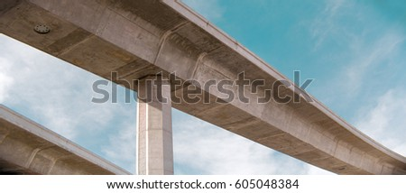 Bridge from underneath and blue sky