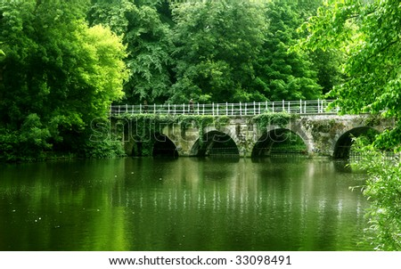 bridge , green colors - stock photo