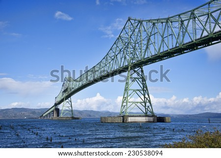 Bridge in Astoria Oregon, crosses over the Columbia River into Washington. - stock photo