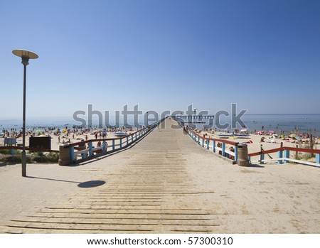 bridge in baltic sea - stock photo