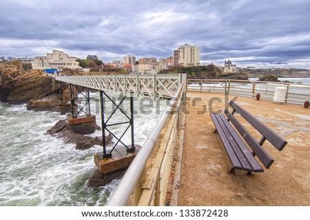 Bridge in Biarritz Rocher de la Vierge ,France - stock photo