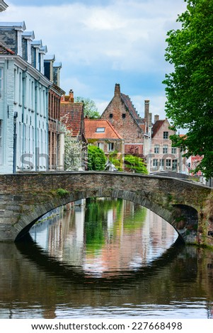 Bridge in Bruges, Belgium World Heritage Site of UNESCO - stock photo