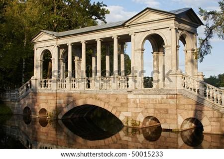 Bridge in Catherine park, Pushkin, Russia - stock photo