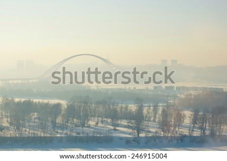Bridge in fog - stock photo