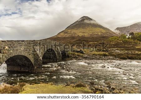 Bridge in Glen Sligachan, Skye Island, Scotland - stock photo