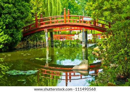 Bridge in japanese garden - stock photo
