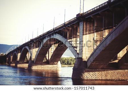 Bridge in Krasnoyarsk, Enisey River
