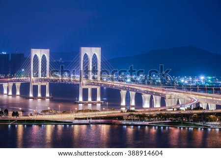 Bridge in Macau view at night