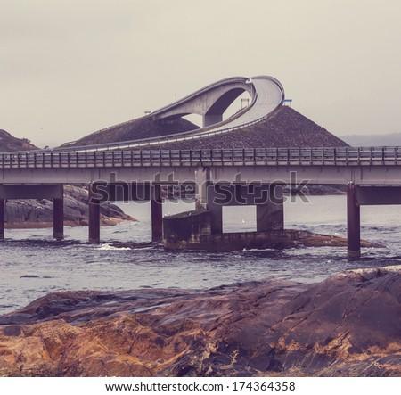 Bridge in Norway - stock photo