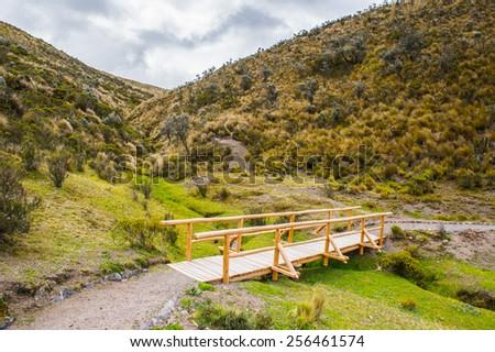 Bridge in the Cotopaxi National Park, Ecuador - stock photo