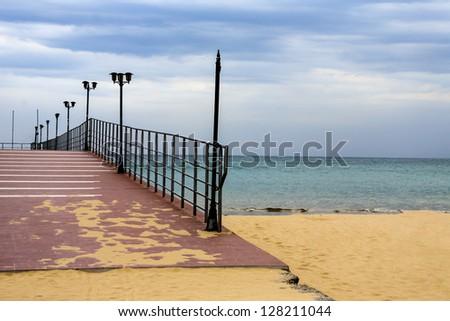 bridge in the sea, Bulgaria - stock photo