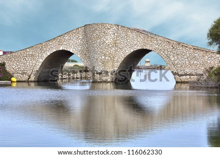 "Bridge ""La Risa"" in the channel of La Manga, Spain - stock photo"