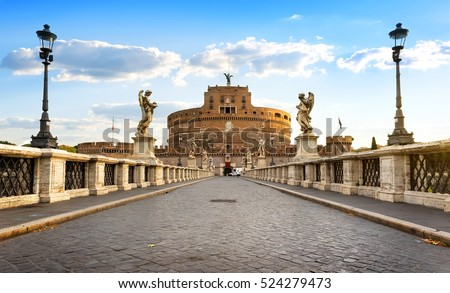 Bridge leading to Castle of the Holy Angel in Rome, Italy.