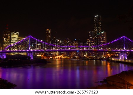 bridge lights with city backround at night