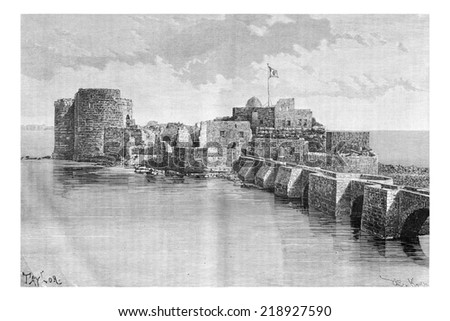 Bridge linking the town to Sidon Sea Castle in Sidon, Lebanon, vintage engraved illustration. Le Tour du Monde, Travel Journal, 1881 - stock photo