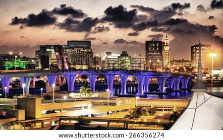 Bridge lit up at night, Miami, Miami-Dade County. - stock photo