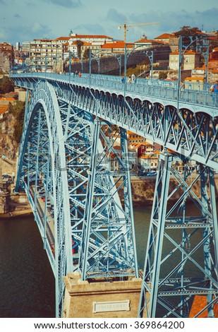 Bridge Luis I in Porto with selective focus. - stock photo