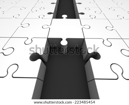 bridge made of puzzles, unifying abstract concept - stock photo