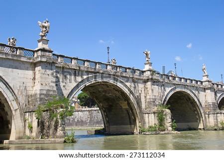 Bridge nearby Castel del Angelo in Rome - stock photo