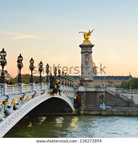 Bridge  of Alexandre III at sunset in Paris, France - stock photo