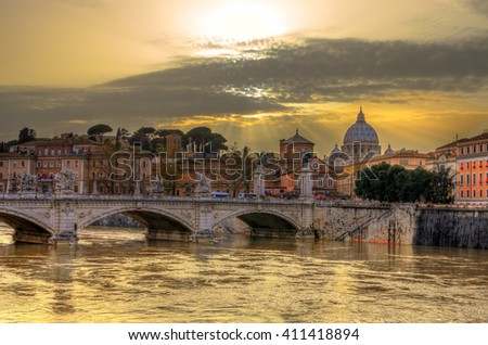 Bridge of Angles, Tiber and St Peter Basilica in Vatican, Rome,  Italy.  - stock photo