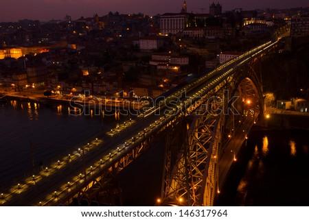 bridge of Dom Luis I at night in old Porto, Portugal - stock photo