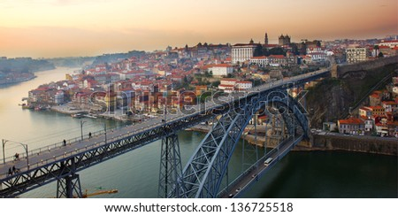 bridge of Dom Luis I (constructed in 1886) in old Porto, Portugal - stock photo