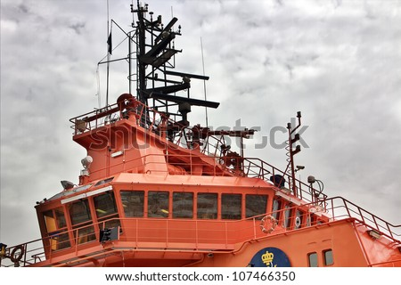 bridge of maritime rescue boat - stock photo