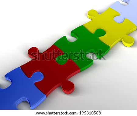 Bridge of Puzzle Bridge of Multicolored Jigsaw Pieces - stock photo