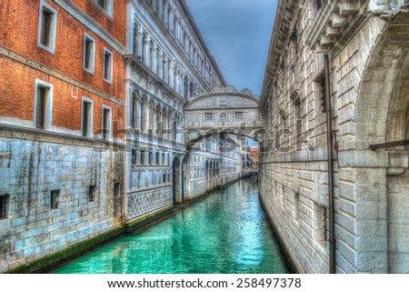bridge of sighs in Venice. Processed for hdr tone mapping effect - stock photo