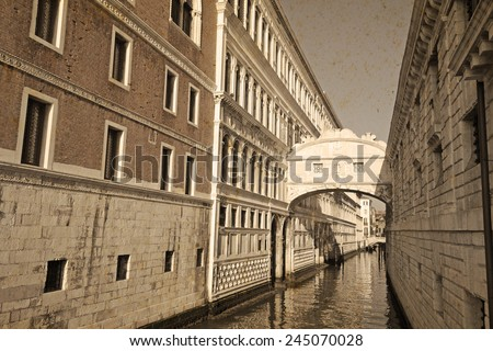 Bridge of Sighs in vintage tone with stained paper effect - stock photo