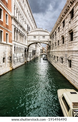 Bridge of Sighs - Ponte dei Sospiri. A legend says that lovers will be granted eternal love if they kiss on a gondola at sunset under the Bridge. Venice,Veneto, Italy, Europe. - stock photo