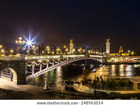 Bridge of the Alexandre III in a beautiful summer day in Paris, France - stock photo