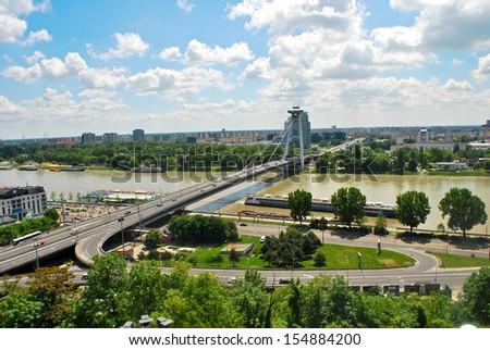 Bridge of the Slovak National Uprising, Bratislava - stock photo