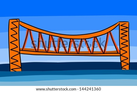 bridge on blue sky background, hand paint drawing