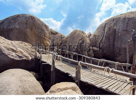 Bridge on island Koh Nang Yuan, Thailand.