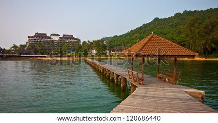 bridge on sea in thailand - stock photo