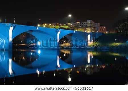 Bridge on the River Po in Turin light blue - stock photo