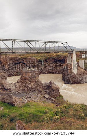Bridge on The Skjalfandafljot river in Iceland. Overcast Gloomy Weather